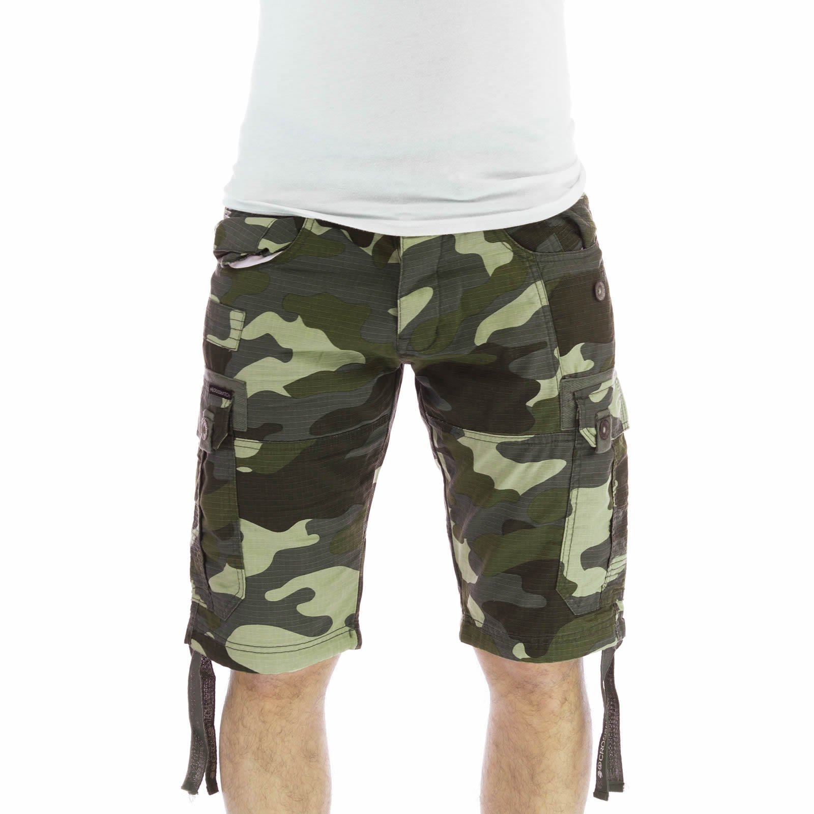 Crosshatch Deep Forest Army Camouflage Print Cargo Shorts ...