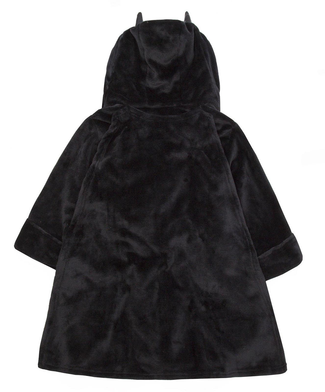 Boys Batman Dressing Gown Bat Hooded Bath Robe Black Ages 3 4 5 6 7 8 9 10 Years