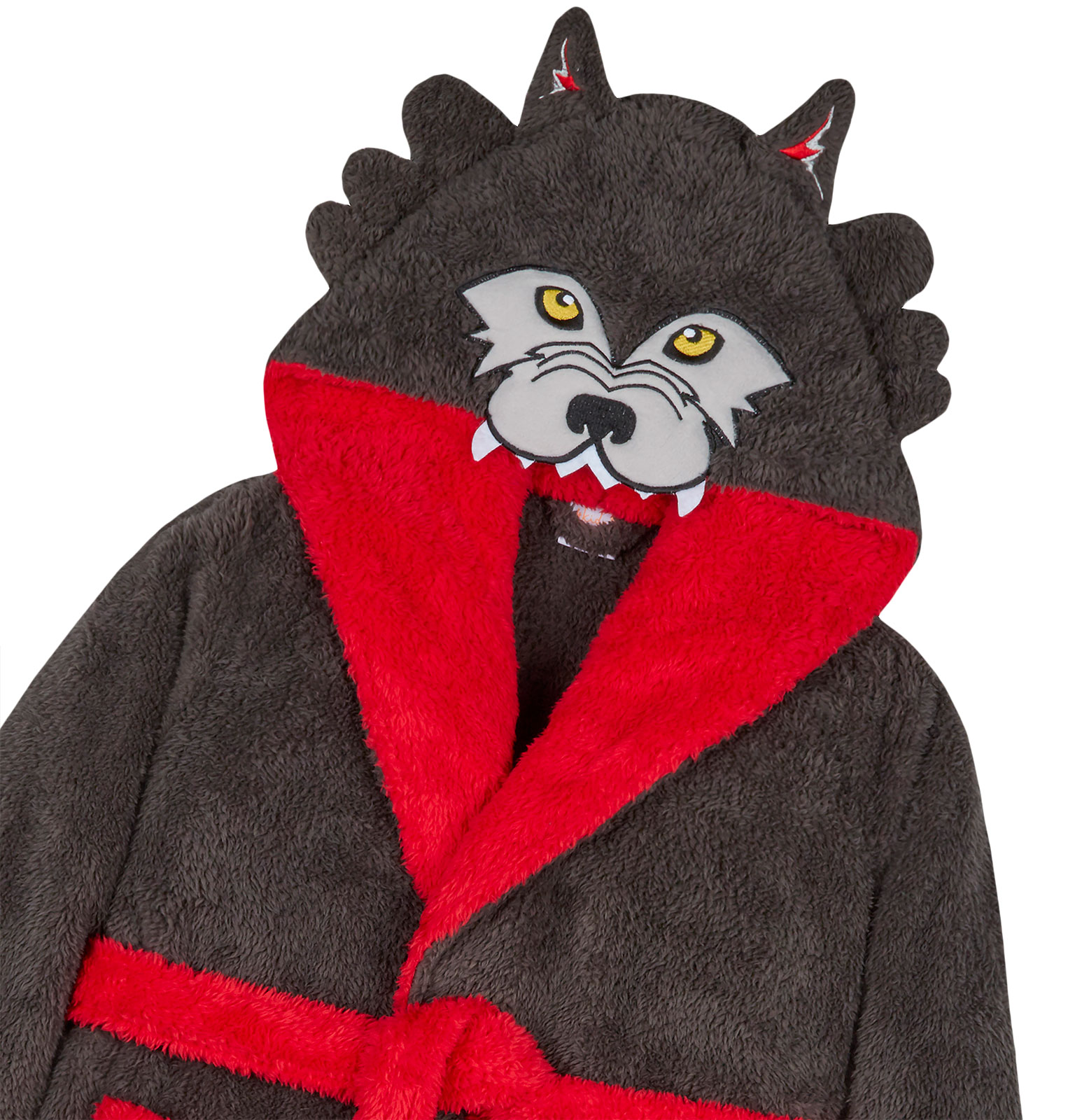 Boys Dressing Gown New Grey Wolf Kids Fleece Hooded Bath Robe Ages 7-13 Years
