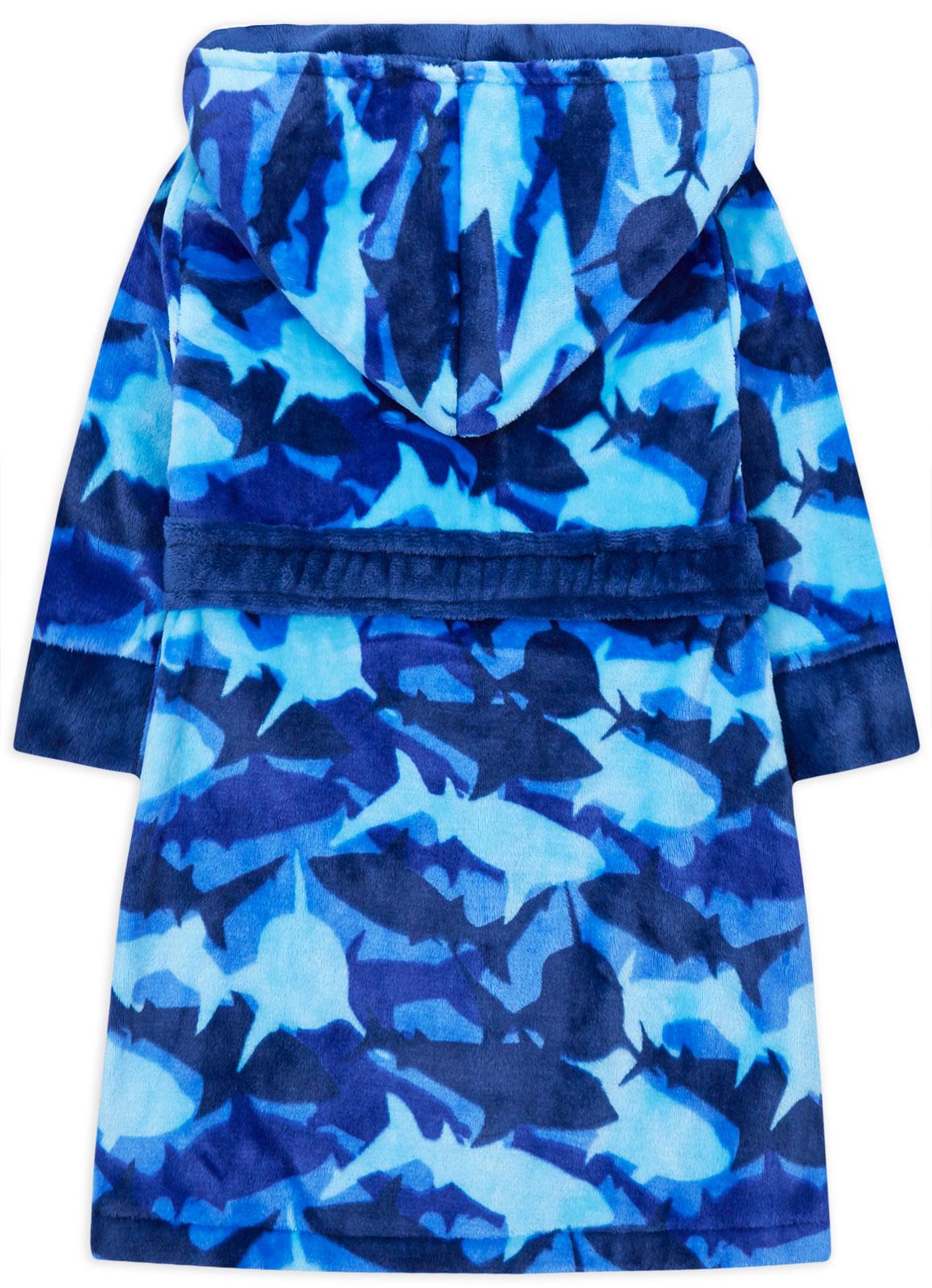 Garçons Robe De Chambre Enfants Nouveau Requin Bleu Camouflage À Capuche Doux Robe De Chambre Âge 2-13 ans