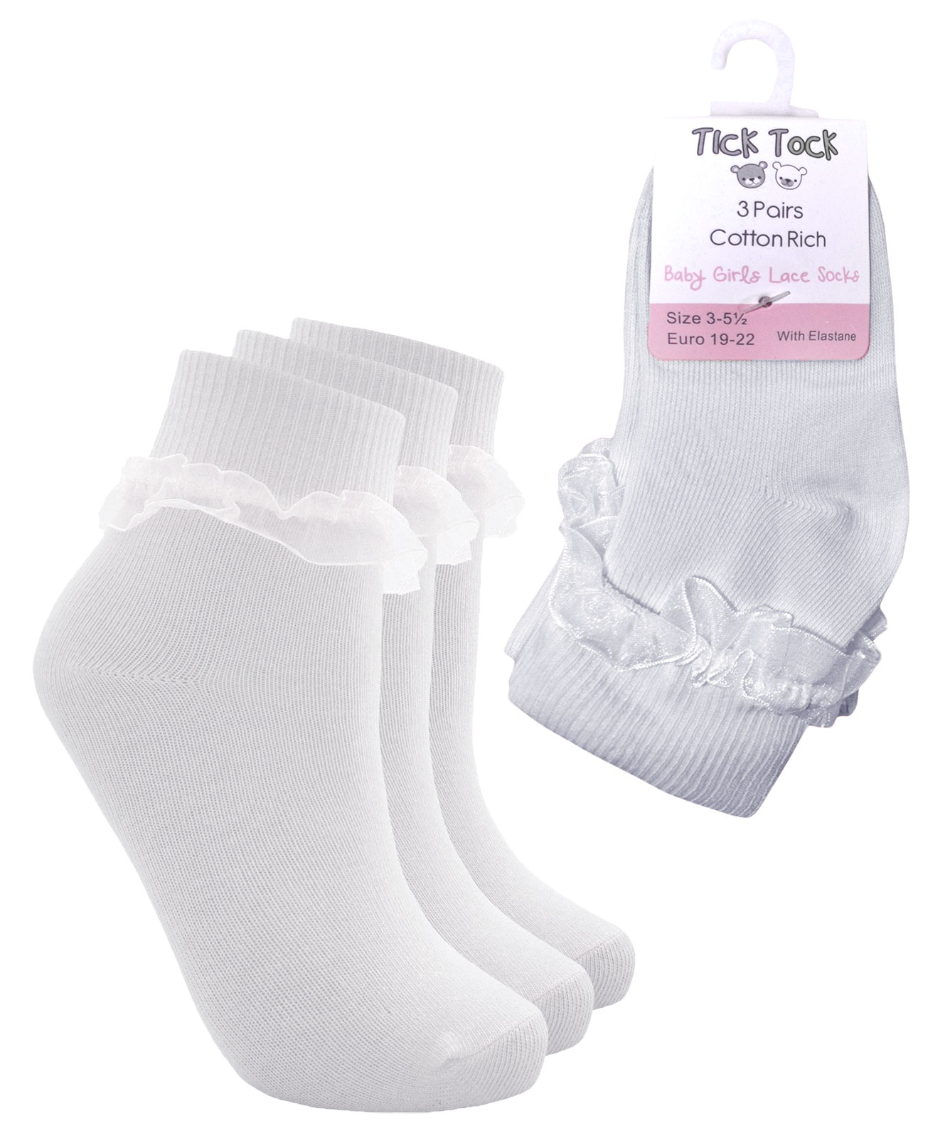 3 Pairs Girls School Socks Frilly Lace Ankle Socks Baby Girls Cotton Sock 3 PACK