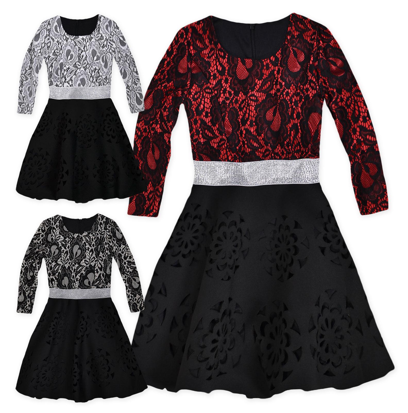 Girls lace dress new kids long sleeved christmas skater