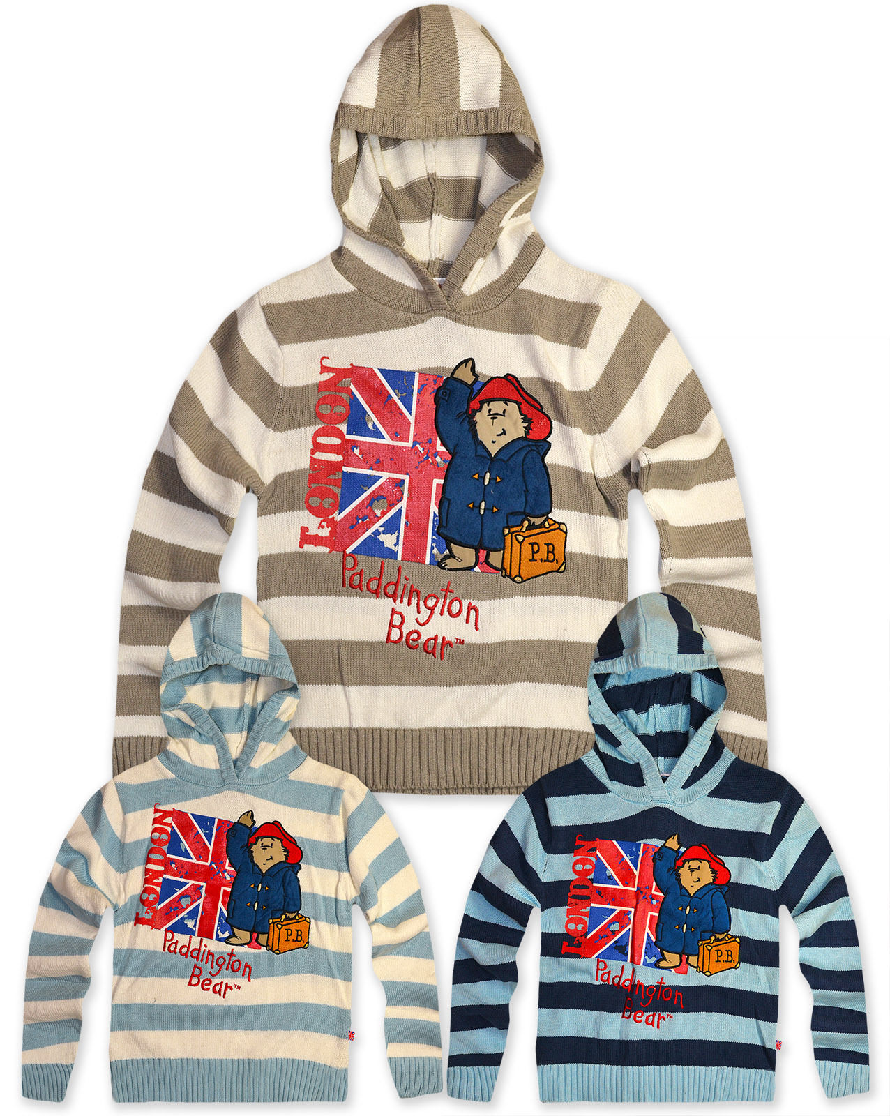 Knitting Pattern Bear Hoodie : Boys Paddington Bear Knitted Hoodie Kids Striped Jumper ...