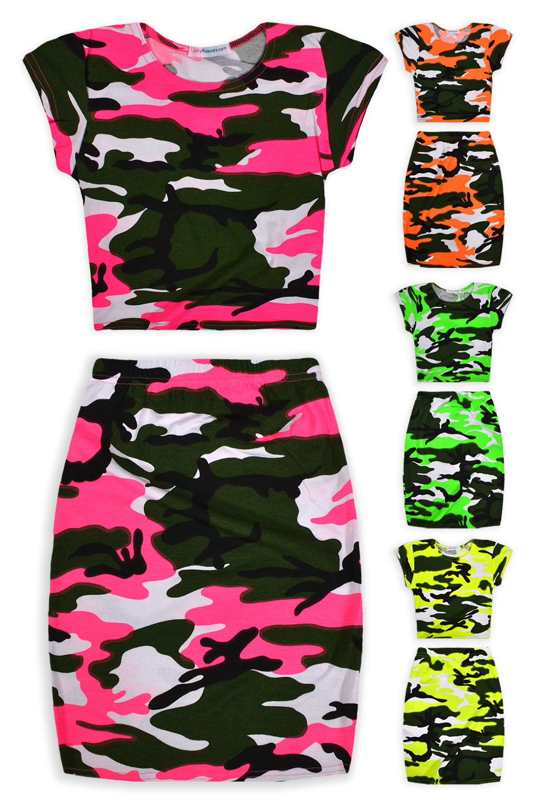 Girls Neon Camo Crop Top And Skirt Outfit New Kids Summer