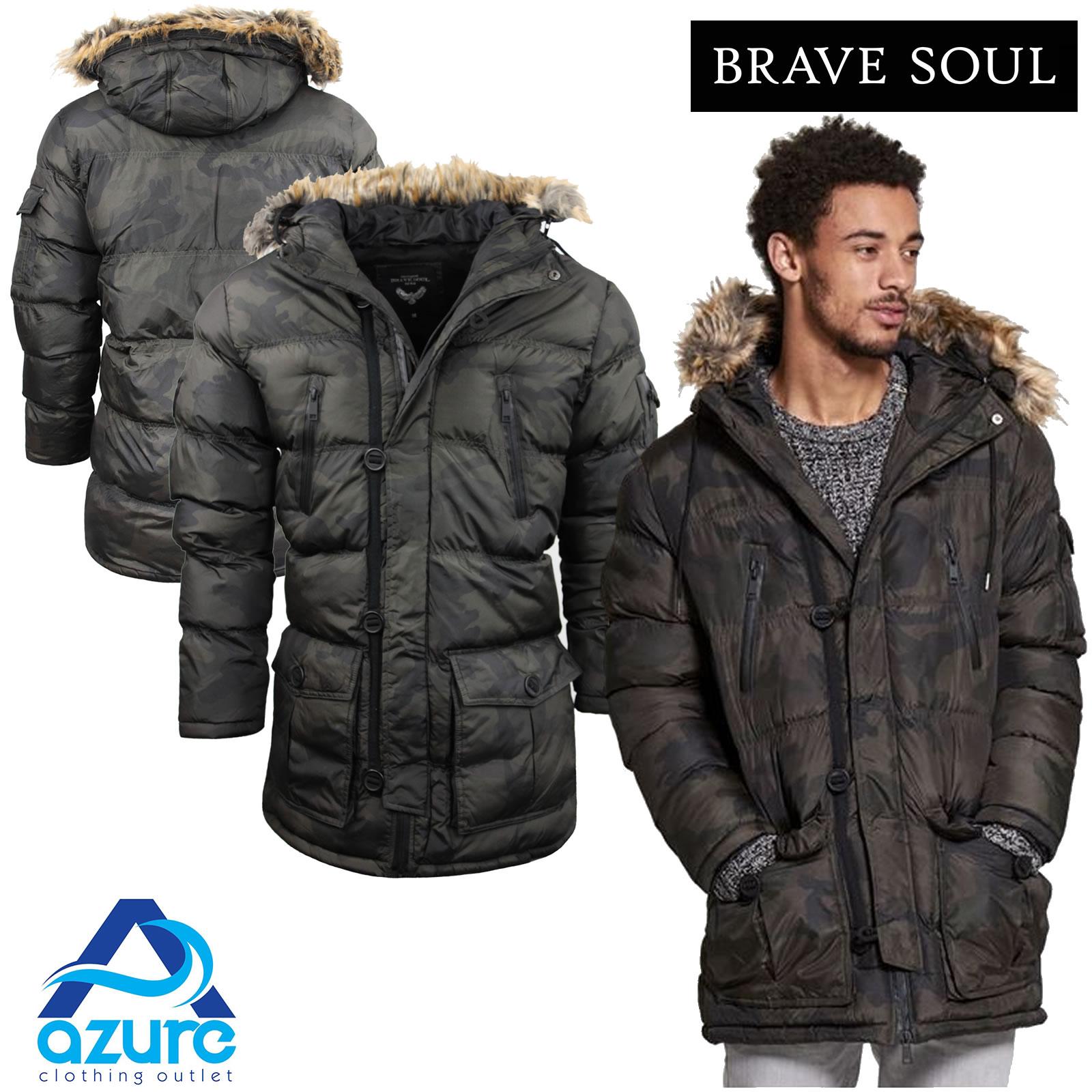 mens winter coat by brave soul camo hooded parka fur hood. Black Bedroom Furniture Sets. Home Design Ideas