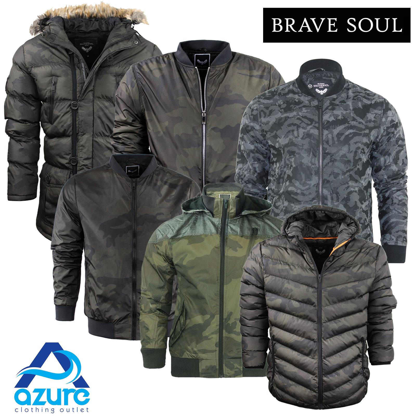 mens brave soul camo jacket coat hooded khaki puffer parka. Black Bedroom Furniture Sets. Home Design Ideas