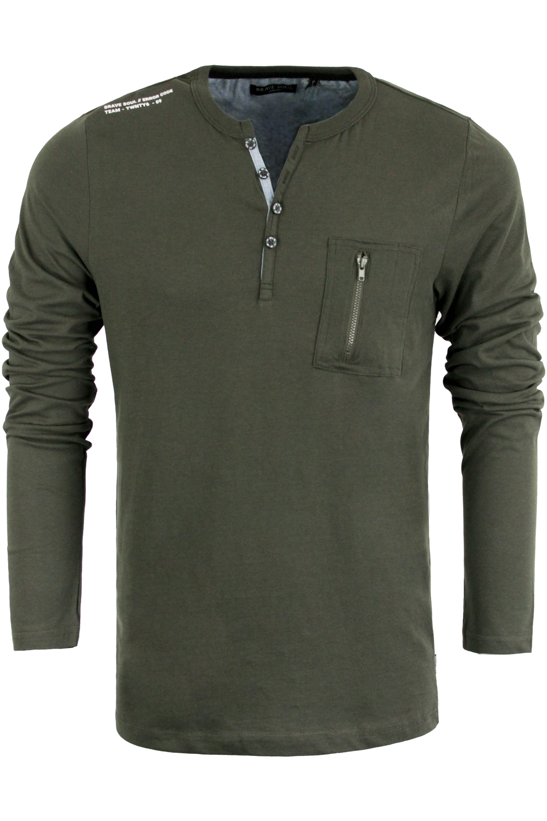 Mens designer henley style collar long sleeve top by brave for Mens collared henley shirt