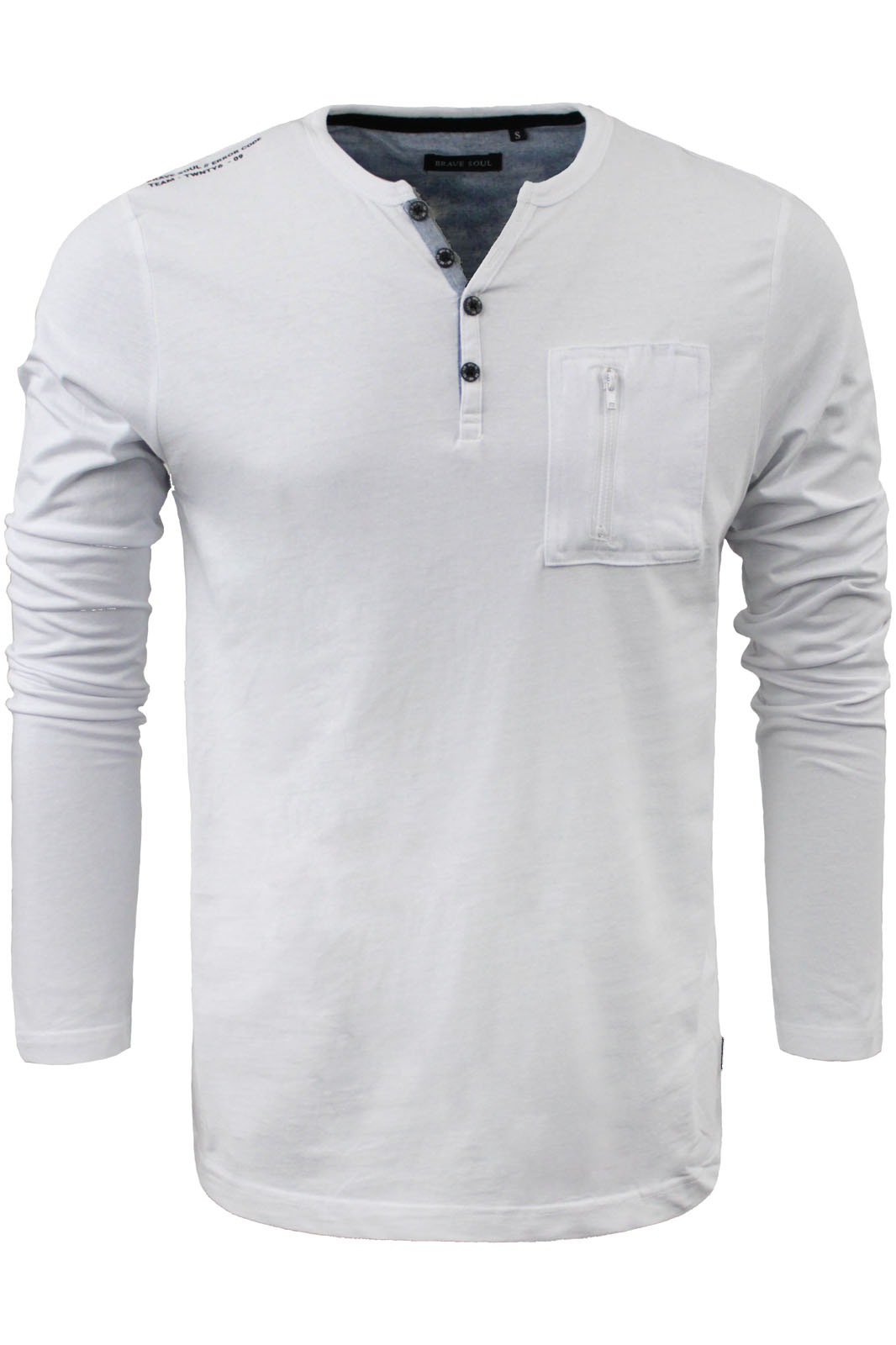 Mens Long Sleeve Henley Top By Brave Soul 39 Sharp 39 Button V