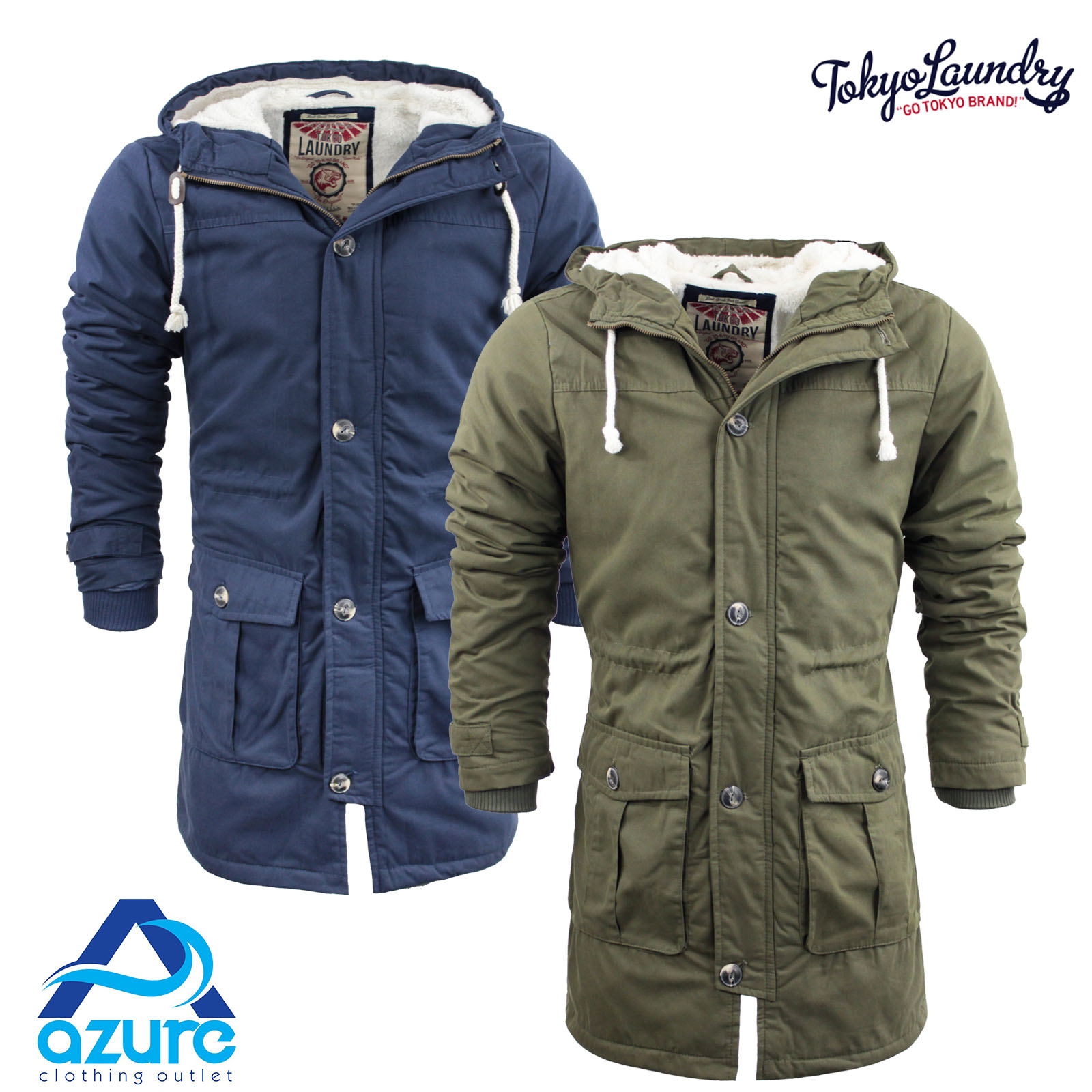 Mens Tokyo Laundry Parka Parker Padded Lined Winter Jacket