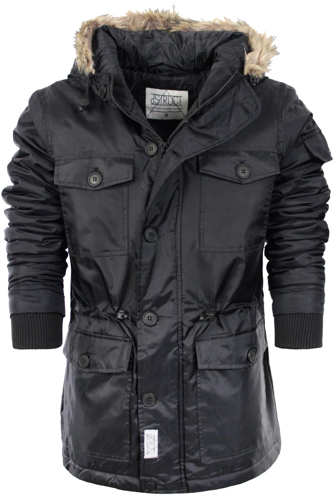 Mens Parka Parker Padded Lined Hood Winter Jacket Faux Fur
