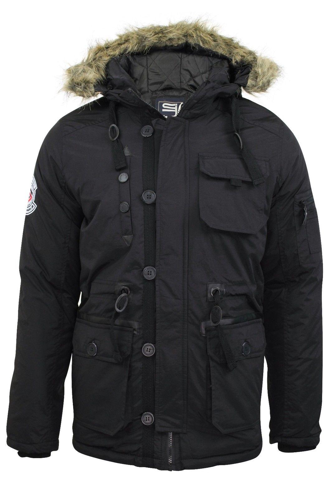 Mens Parka Parker Hood Padded Lined Winter Jacket Faux Fur