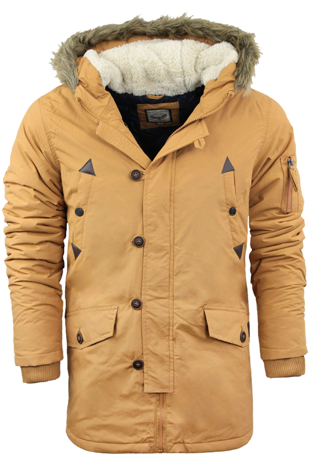 Mens Parka Parker Hood Padded Lined Winter Jacket Faux Fur