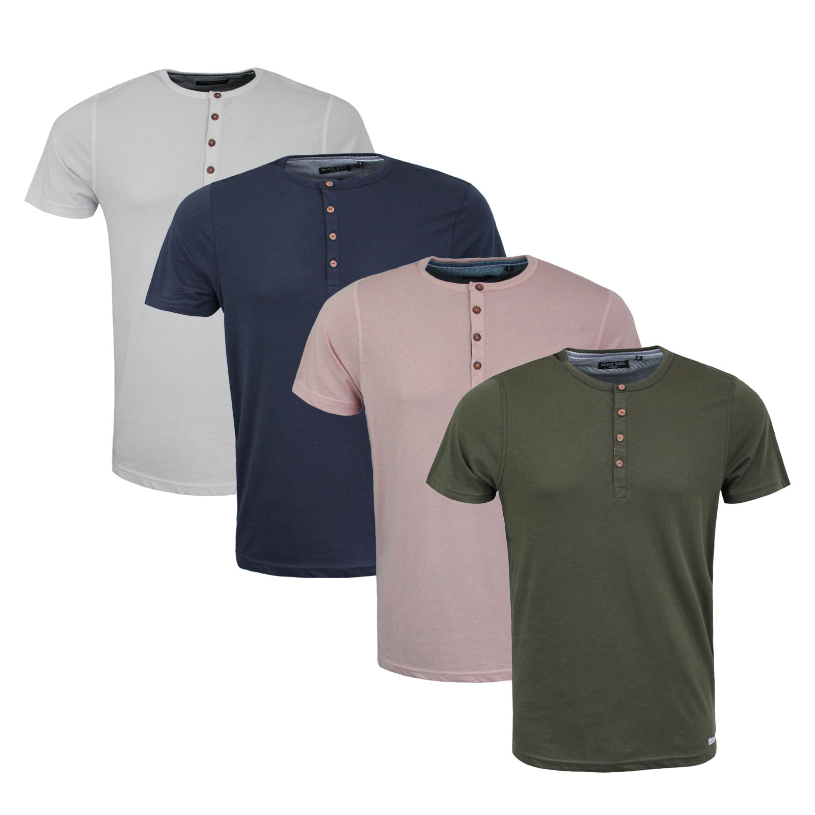 Mens designer henley style t shirt by brave soul 39 quartz for Mens xl tall henley shirts