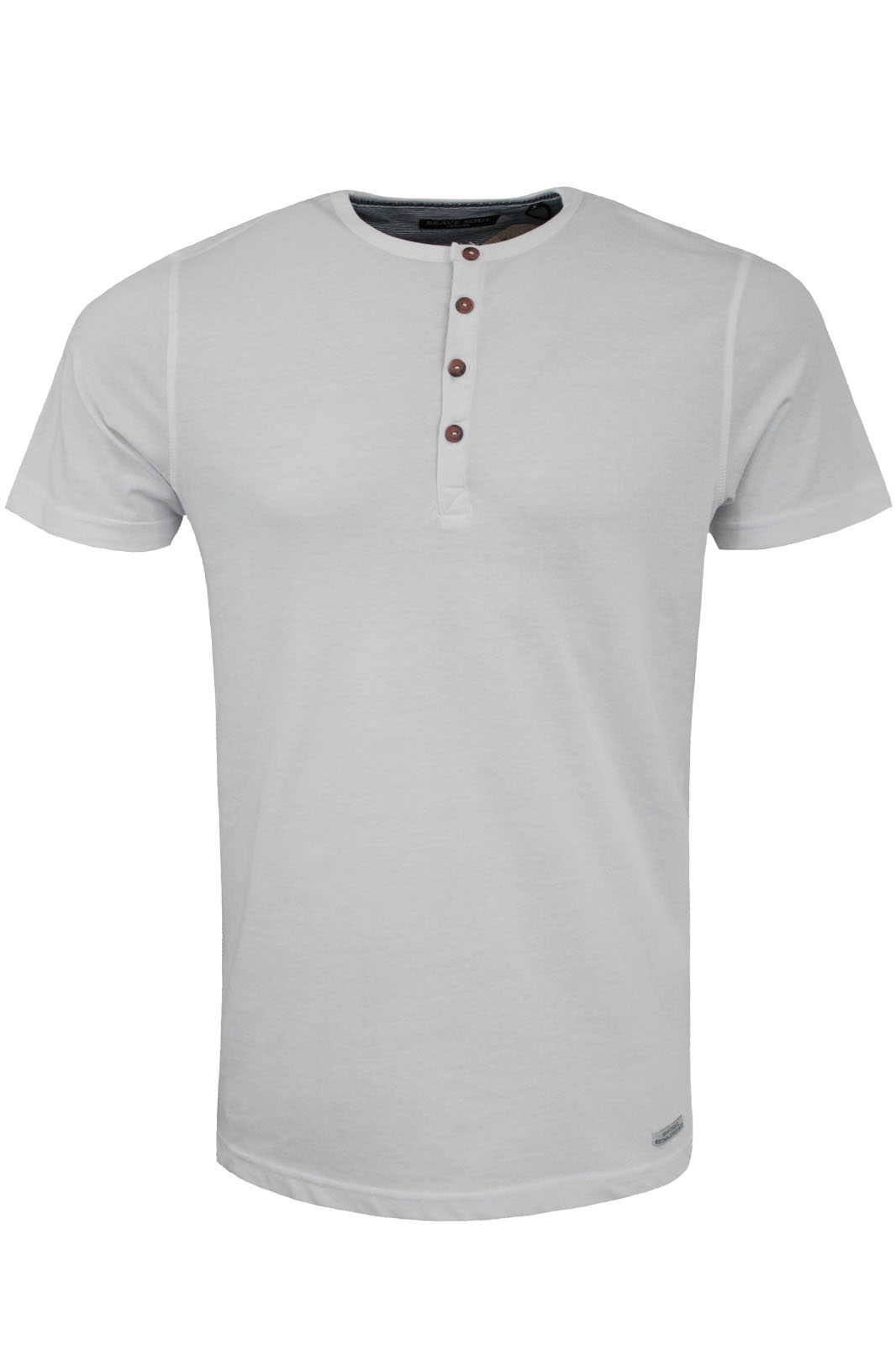 Mens designer henley style t shirt by brave soul grandad for Mens collared henley shirt