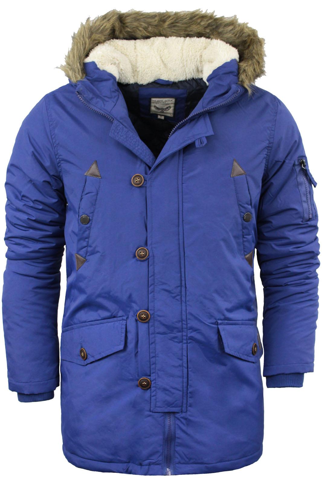 Mens Brave Soul Parka Parker Padded Lined Winter Jacket