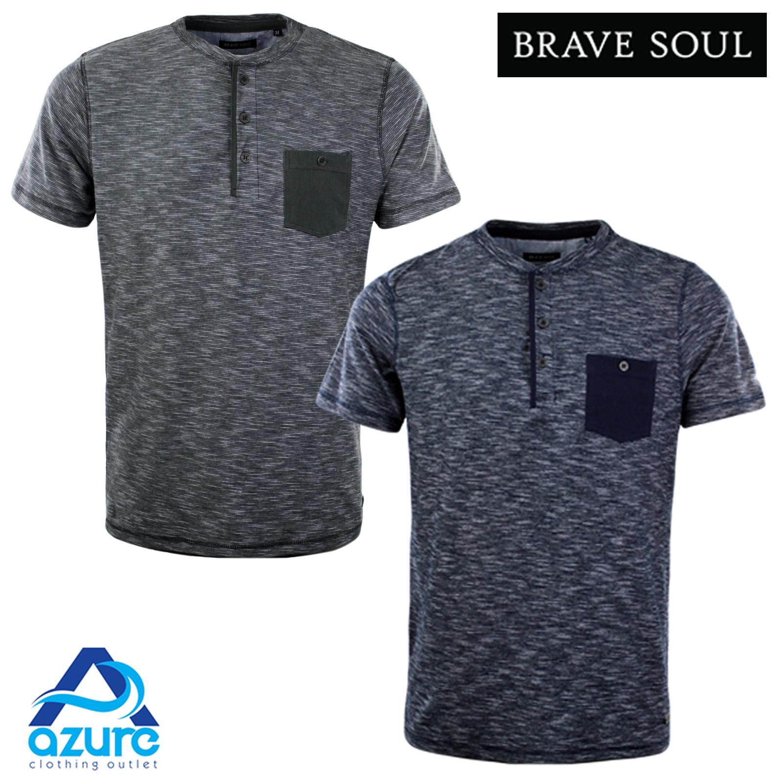 Mens Designer Henley Style T Shirt By Brave Soul Grandad