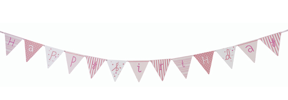 Pink n Mix Happy Birthday Flags banner party bunting Vintage Style ...