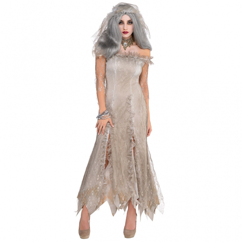 Halloween Zombie Undead Bride Zombie Wedding Fancy Dress Costume Ladies One Size