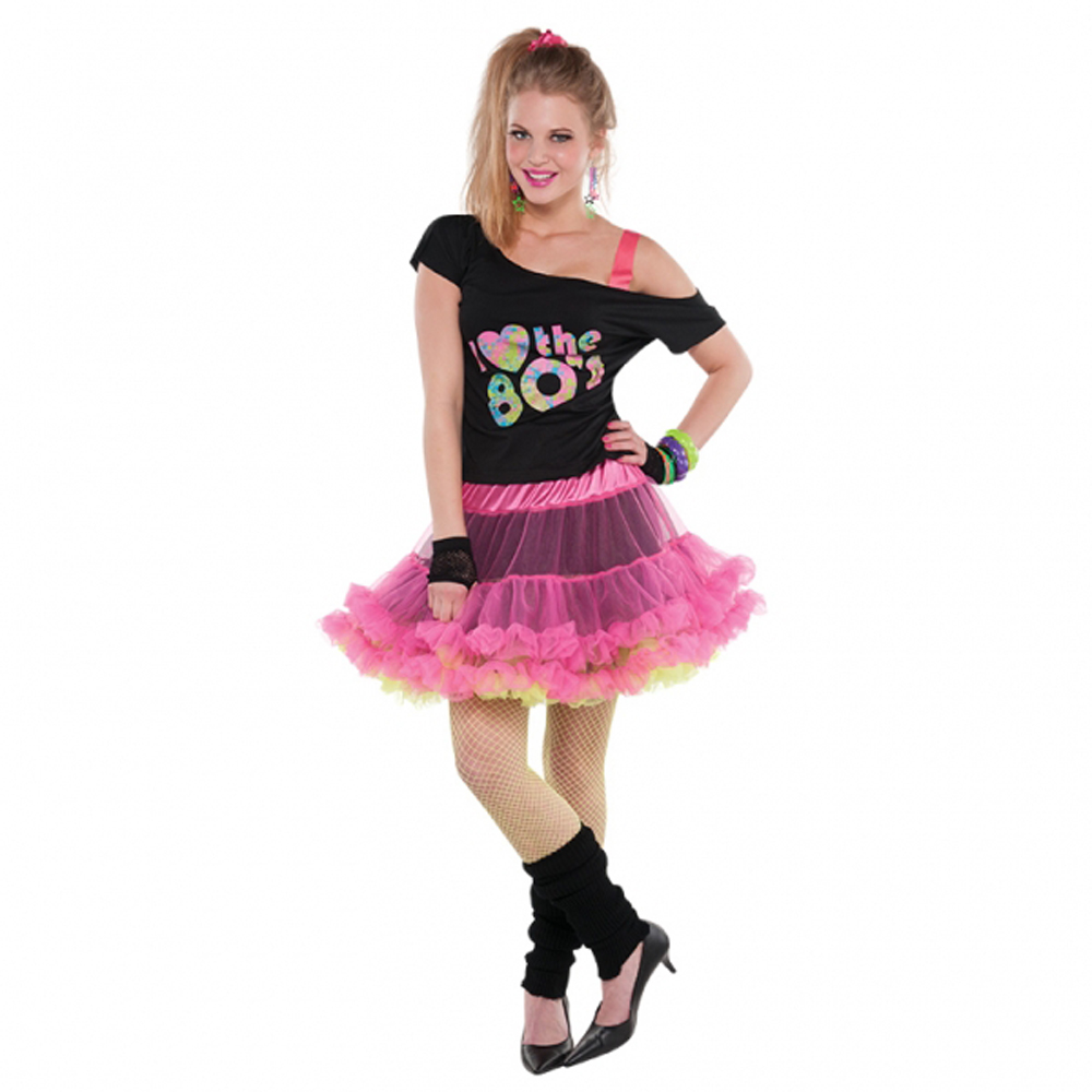 Disco fancy Dress Costume Ra-Ra Skirt 80s Dress Up Mini ...