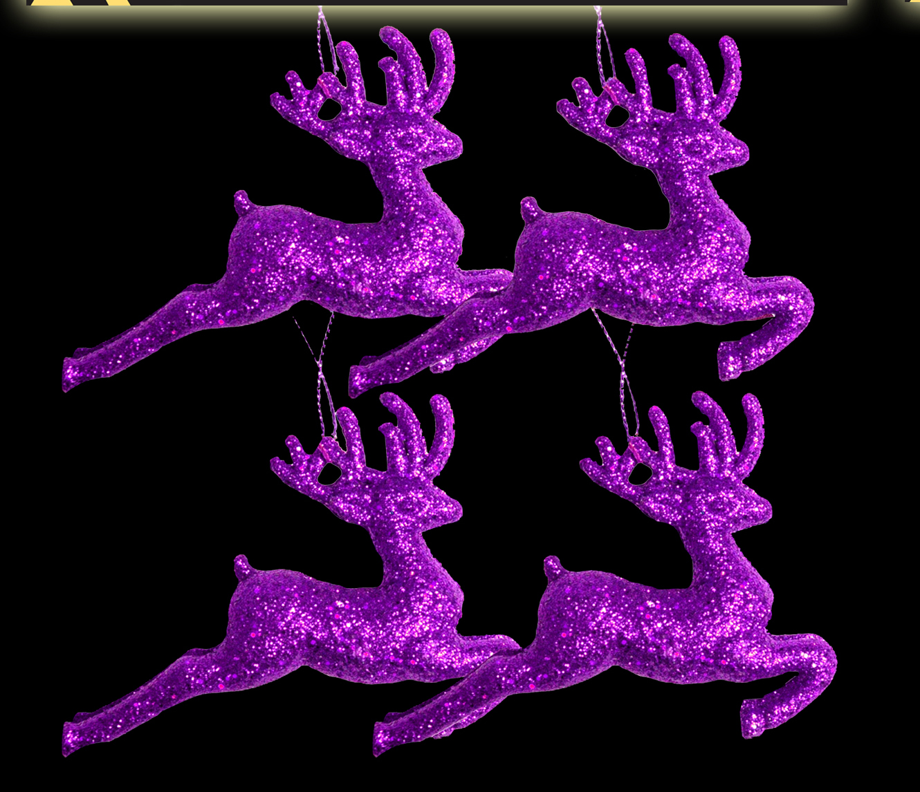 Purple Christmas Tree Baubles Uk : Purple glitter reindeers christmas tree baubles