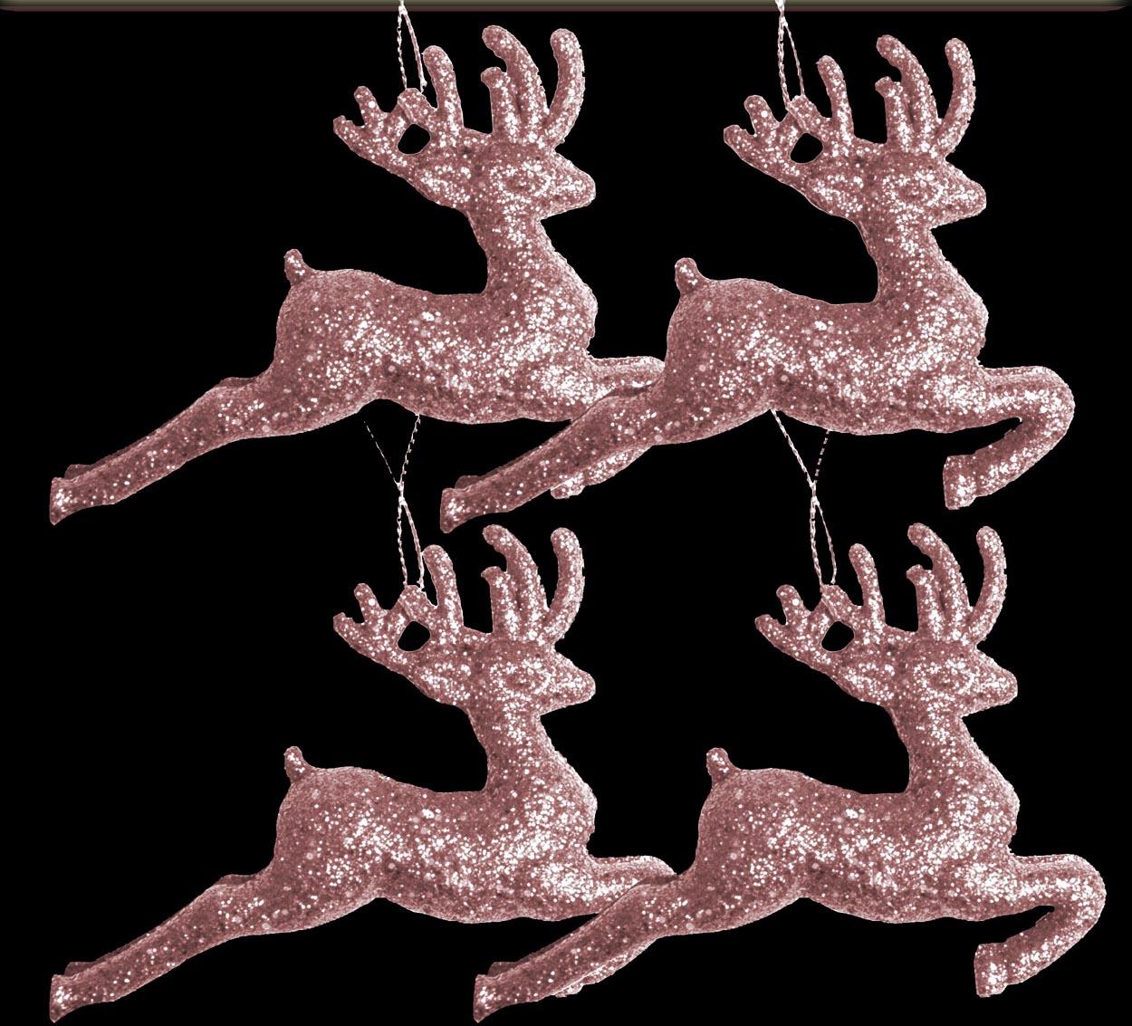 12 x pale blush pink glitter reindeers christmas tree - Blush pink christmas decorations ...