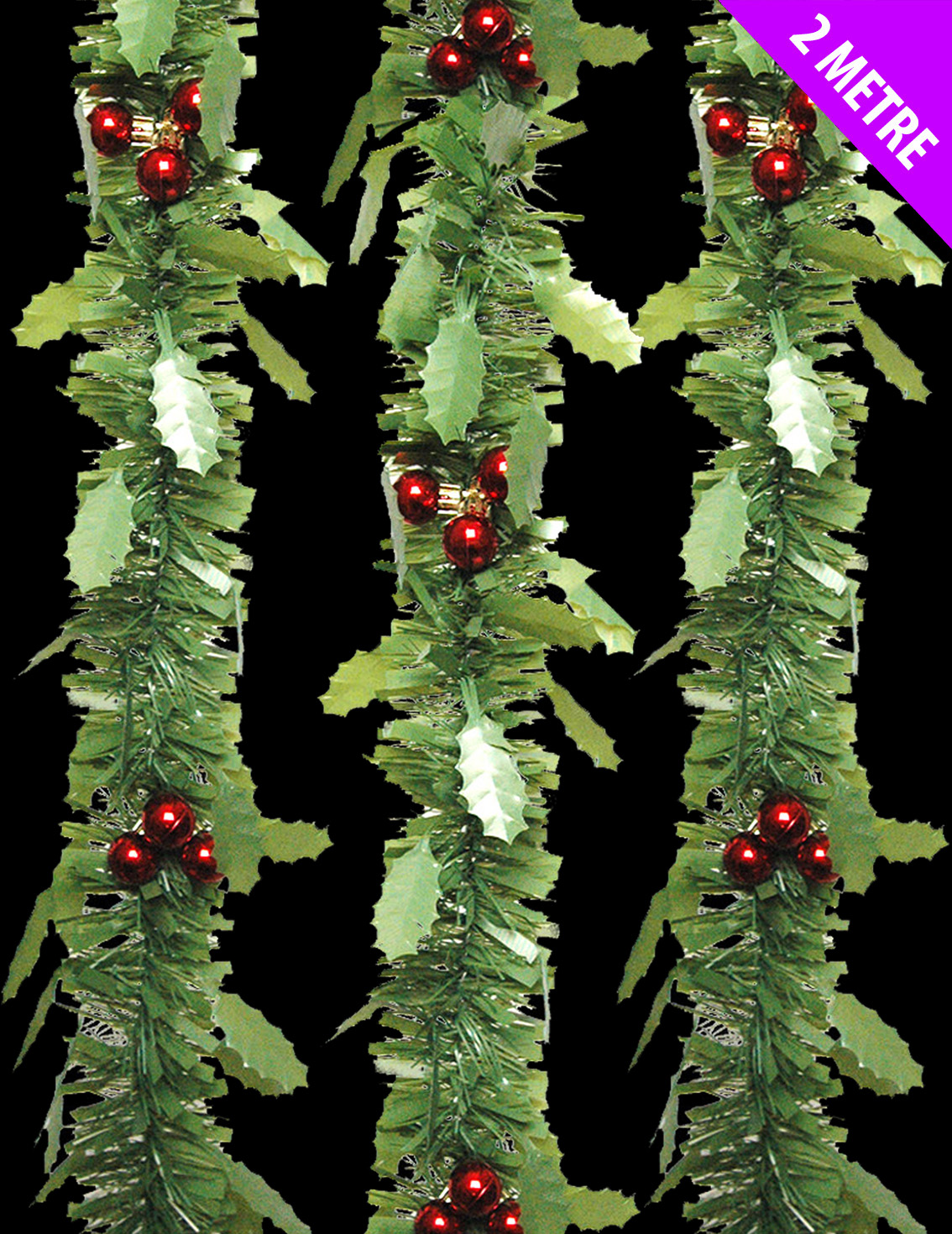 Lovely green holly tinsel red berries christmas