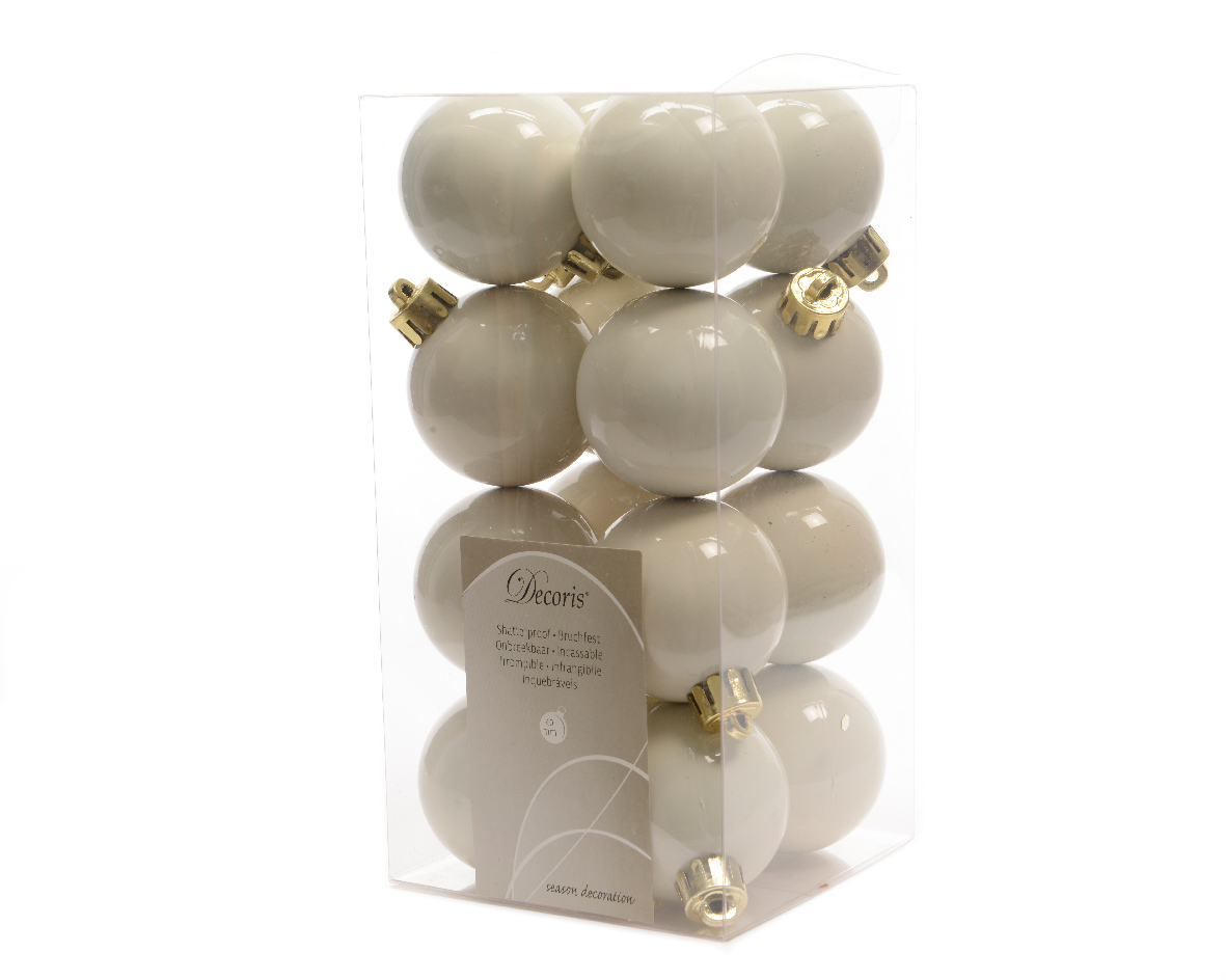 32 x ivory wool white shatterproof christmas tree for White christmas baubles