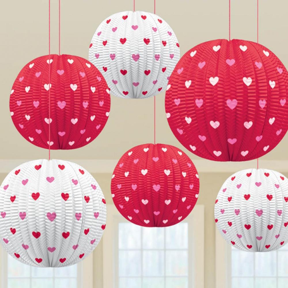 5 X Red & White Mini Hearts Hanging Paper Lantern