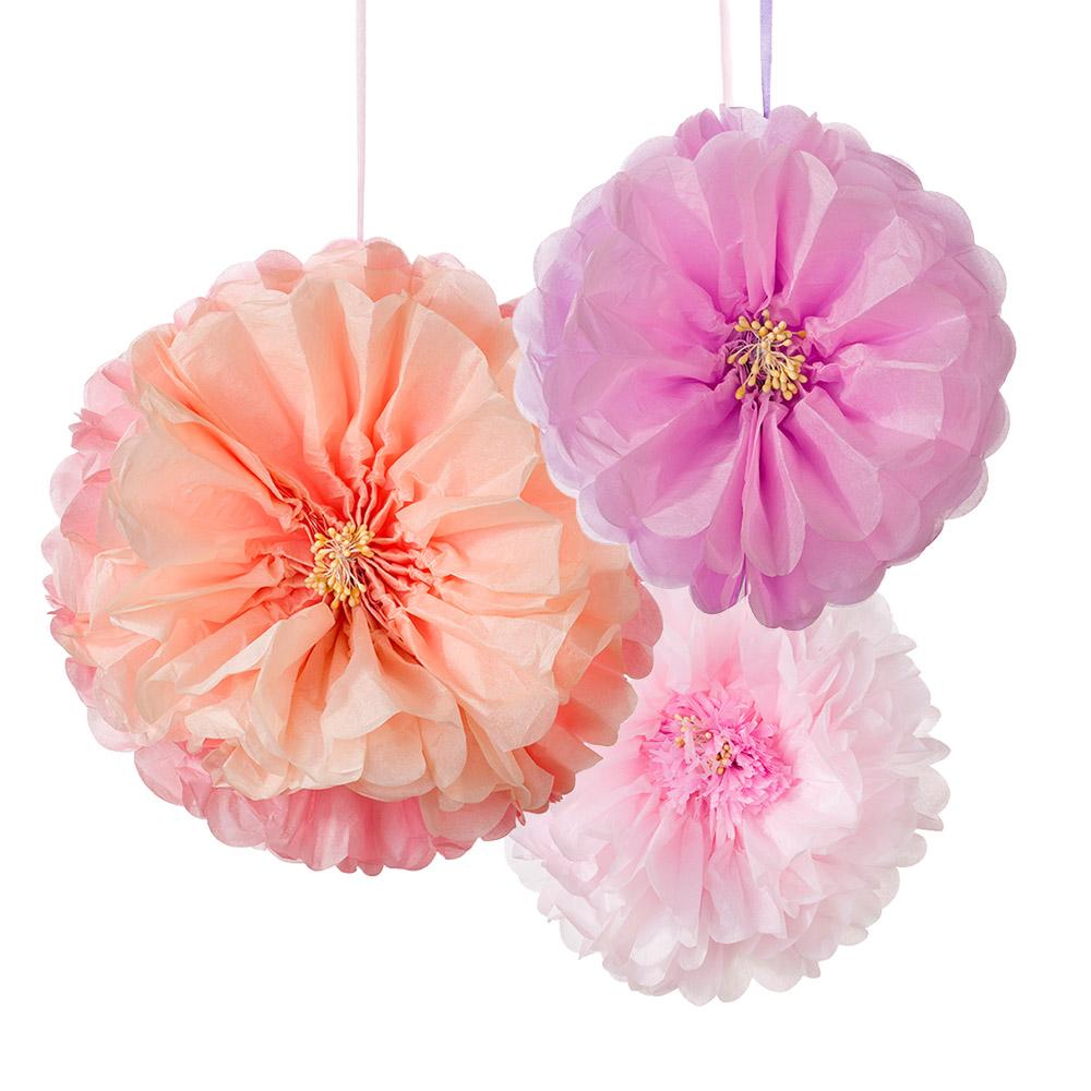 3 x large paper pastel flower fluffy hanging party. Black Bedroom Furniture Sets. Home Design Ideas