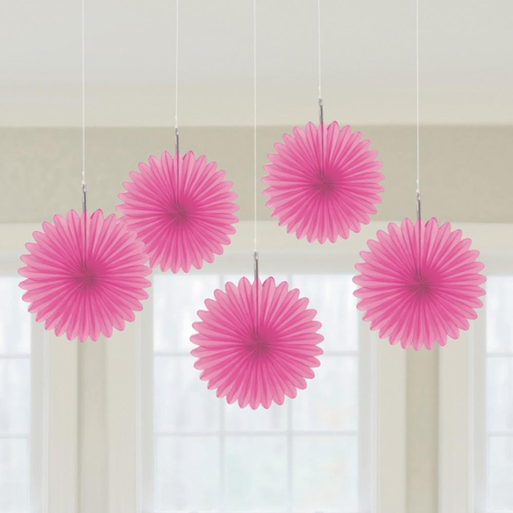 Hanging Pom Pom Decorations 5 X Pink Paper Fans Hanging Decorations Pink Colour Theme Party
