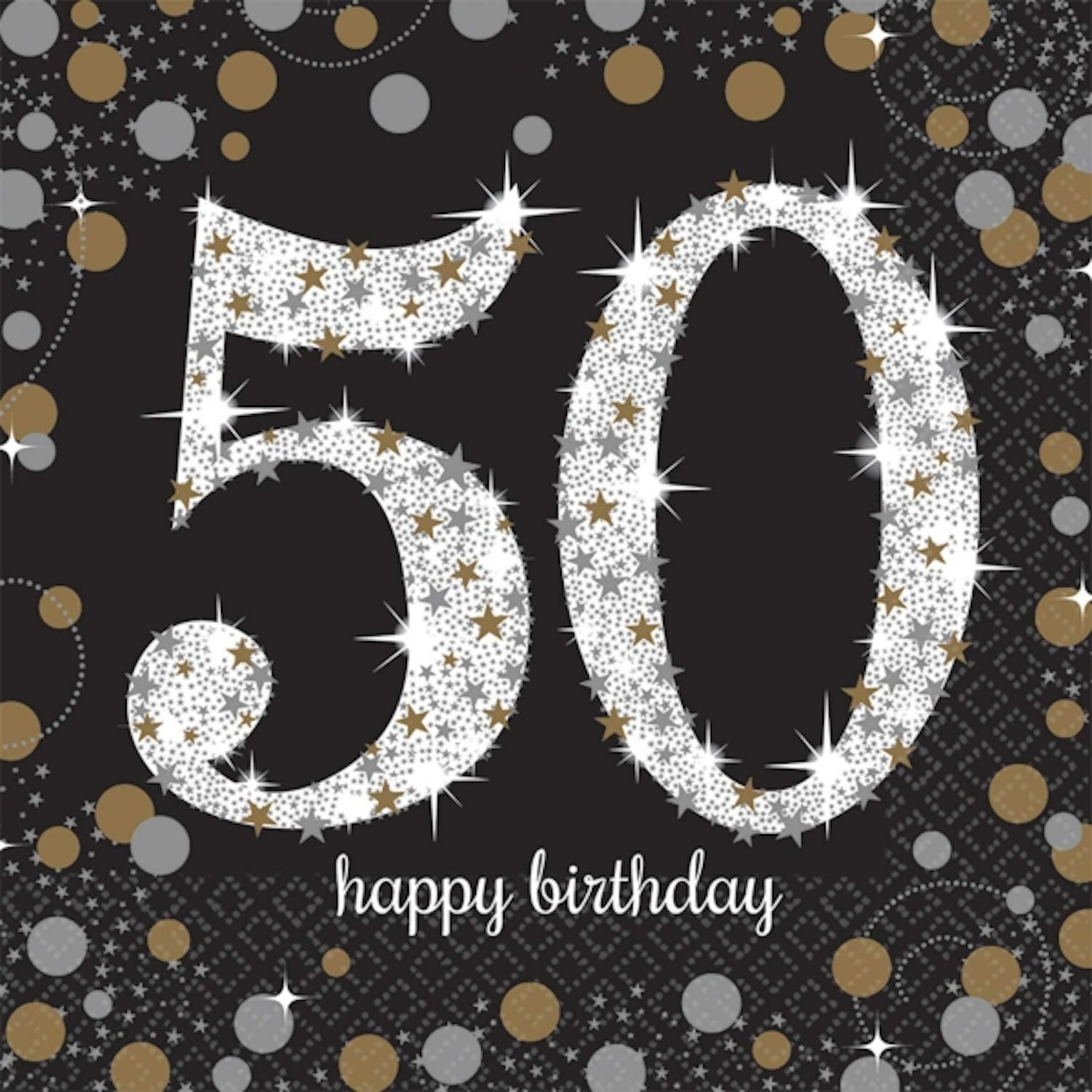 16 x black age 50 napkins black gold silver 50th birthday. Black Bedroom Furniture Sets. Home Design Ideas