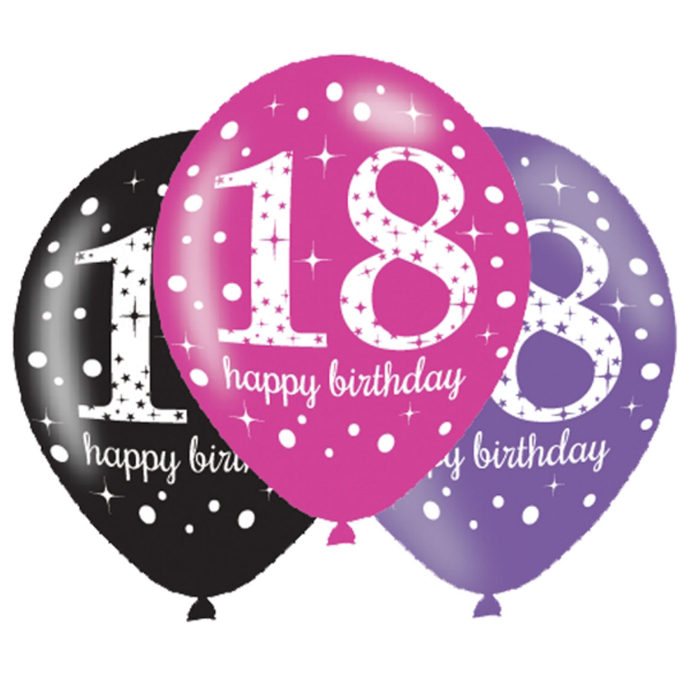 6 X 18th Birthday Balloons Black Pink Lilac Party
