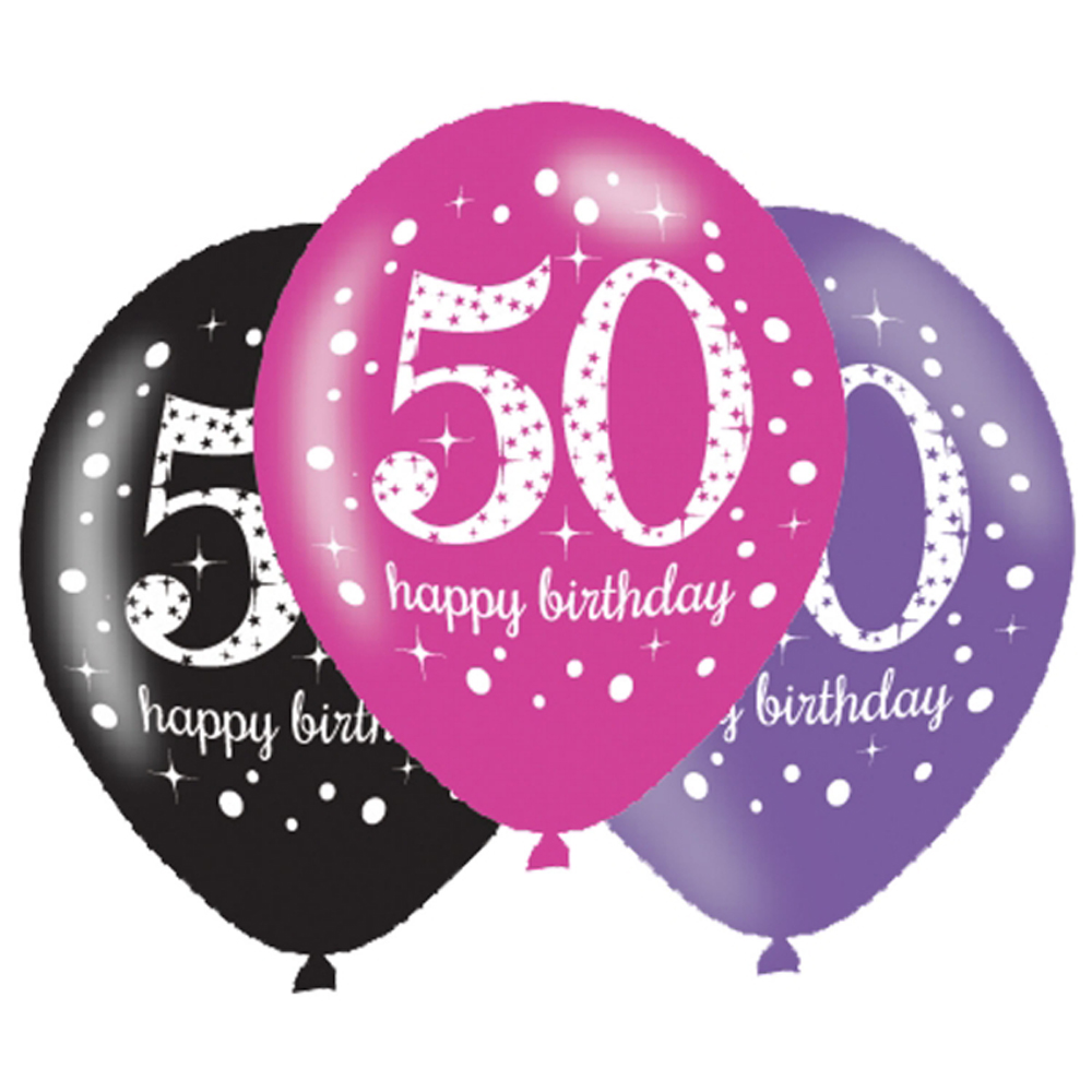 6 X 50th Birthday Balloons Black Pink Lilac Party