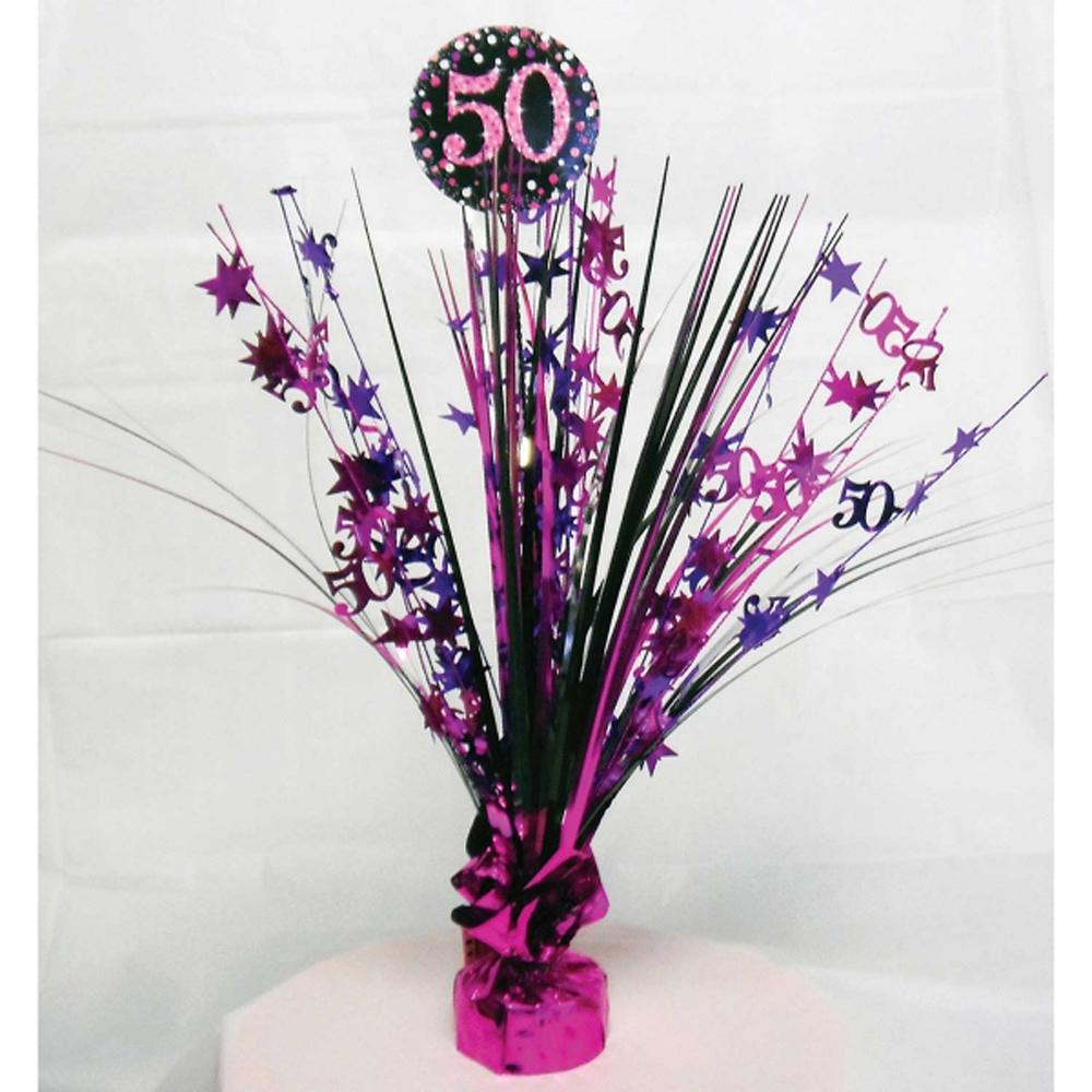 50th Birthday Spray Centrepiece Table Decoration Black Pink Purple Age 50 Party EBay