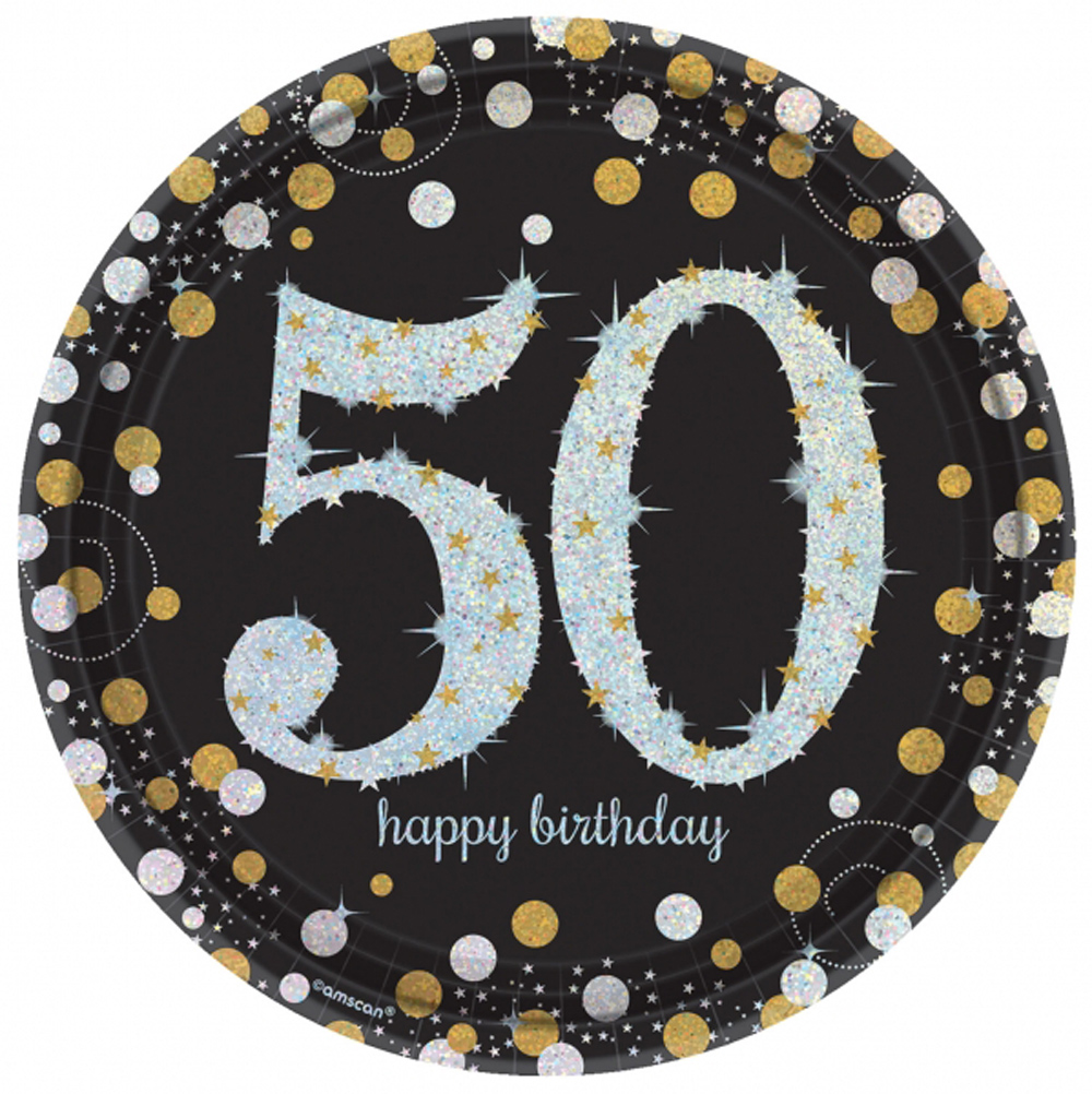 8 gold celebration age 50 paper plates silver gold black for 50th birthday decoration packs