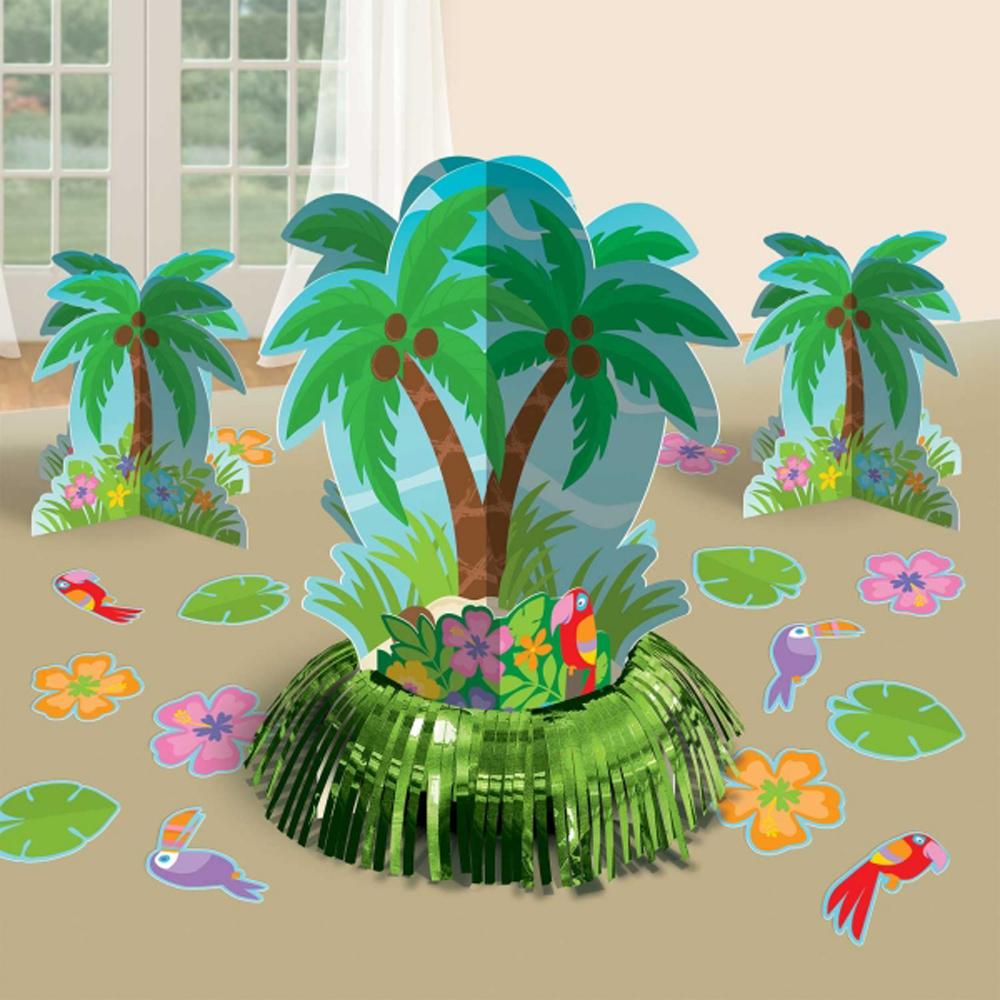 Hawaiian party palm tree table decorations kit for Palm tree decorations for the home