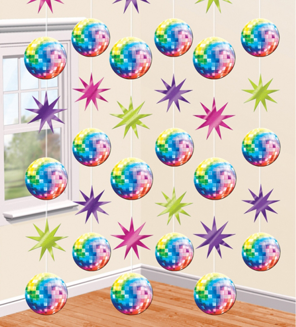 Disco Ball Party Decorations: 6 X Glitter Disco Ball Hanging Strings 70s 80s Disco Party
