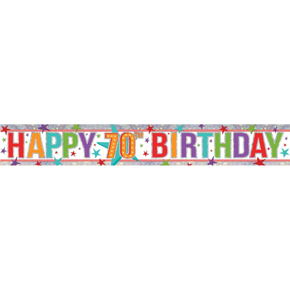 happy 70th birthday banner party decoration age 70 bunting shiny
