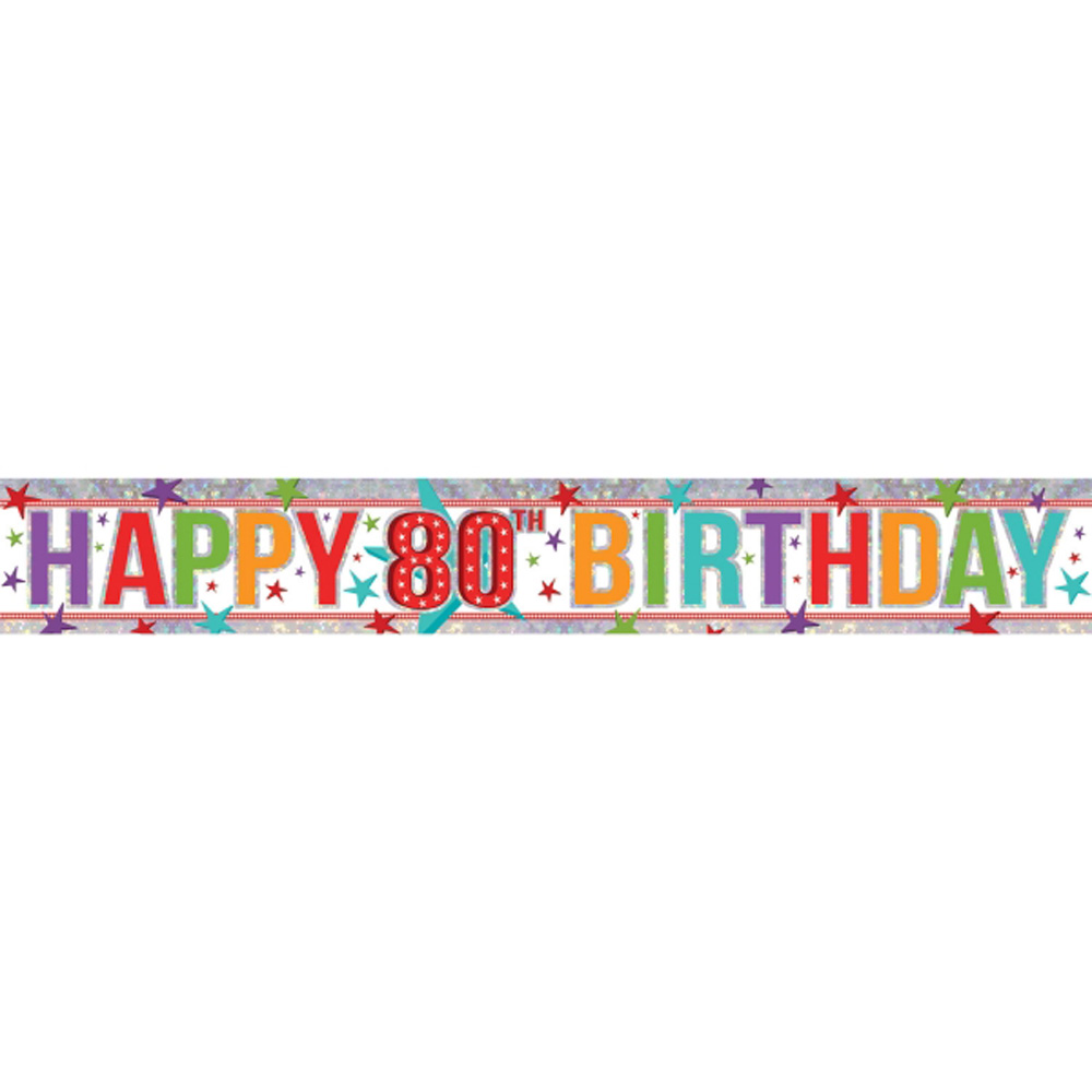 Happy 80th birthday banner party decoration age 80 bunting for Decoration 80 birthday