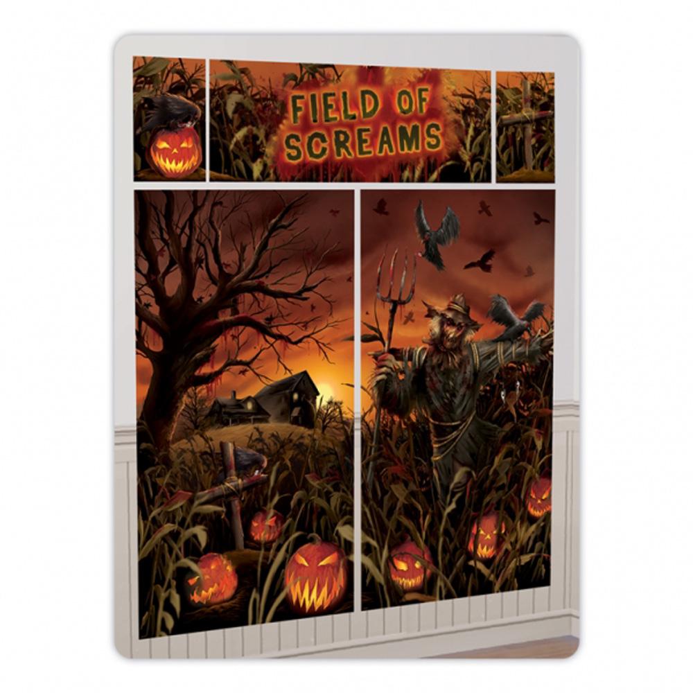 halloween field of screams scene setter evil pumpkin big wall poster decoration ebay. Black Bedroom Furniture Sets. Home Design Ideas