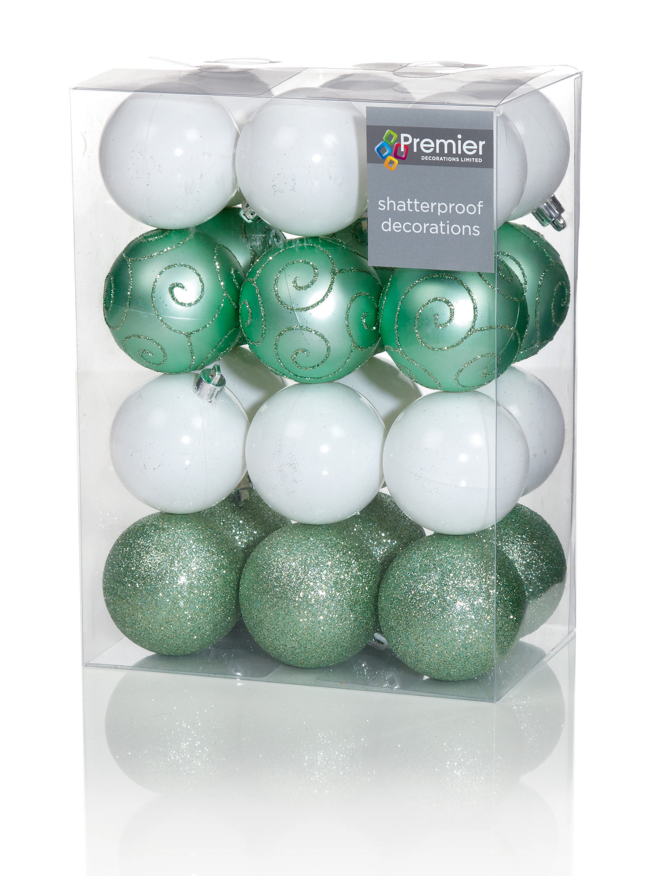 24 X Large Green White Mix Baubles 6cm Christmas Tree