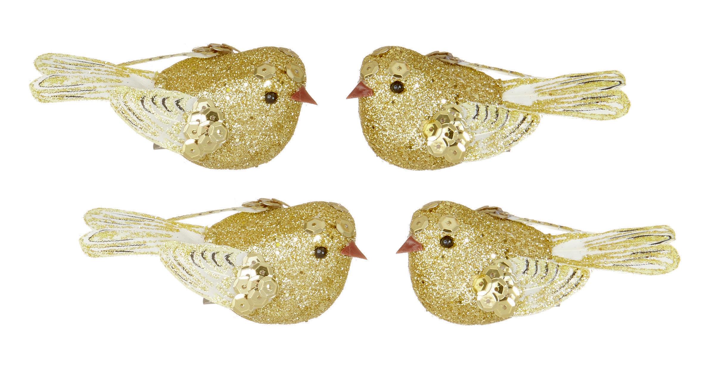 Gold Bird Christmas Tree Decorations : Gold clip on glitter birds christmas tree decorations