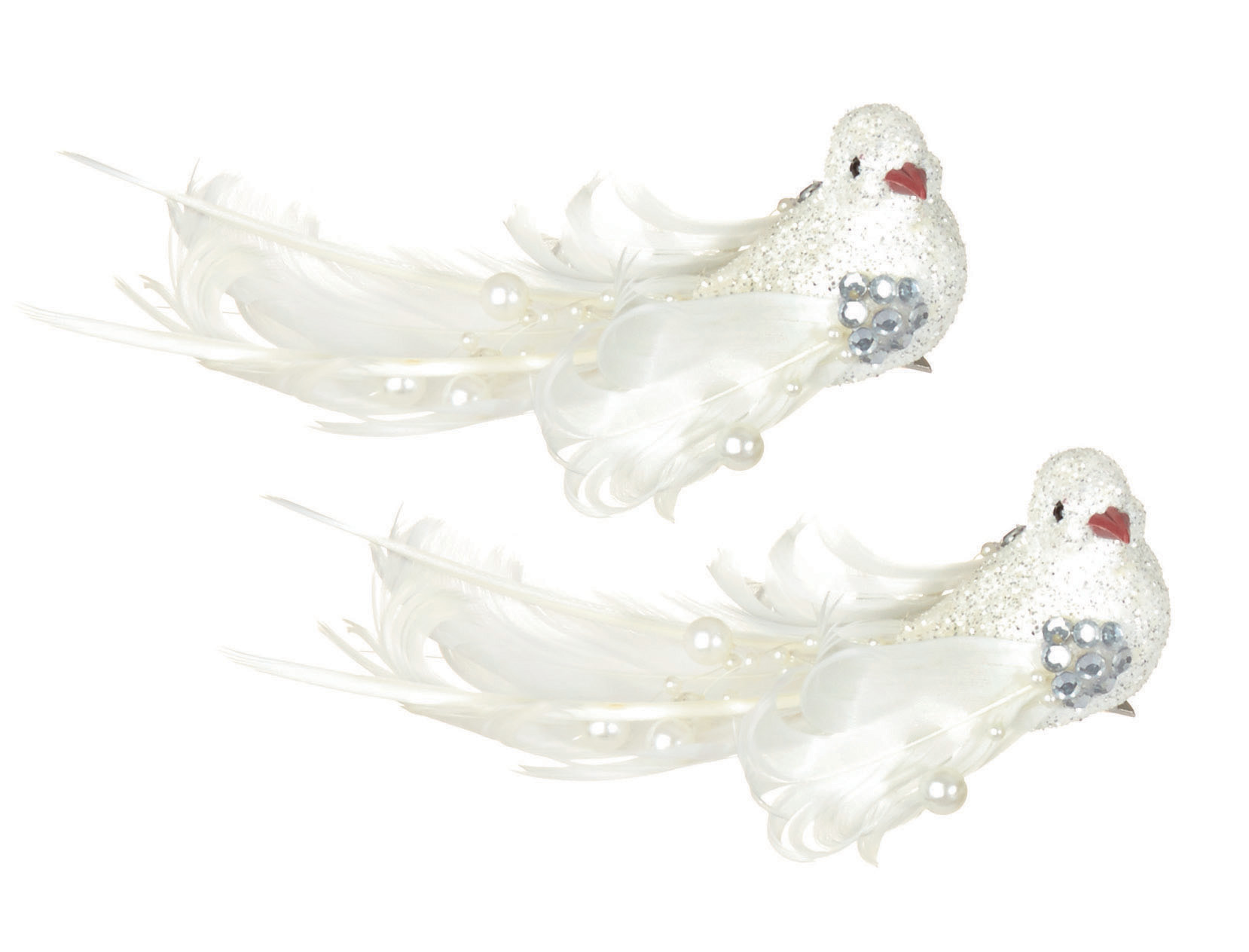 2 X White Clip On Glitter & Feather Birds Christmas Tree