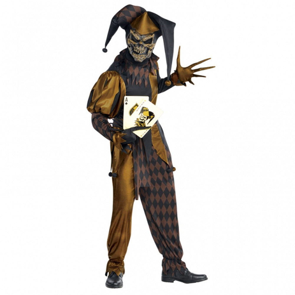 Halloween Extra Scary Evil Jester Skeleton Mens Fancy Dress Costume ...