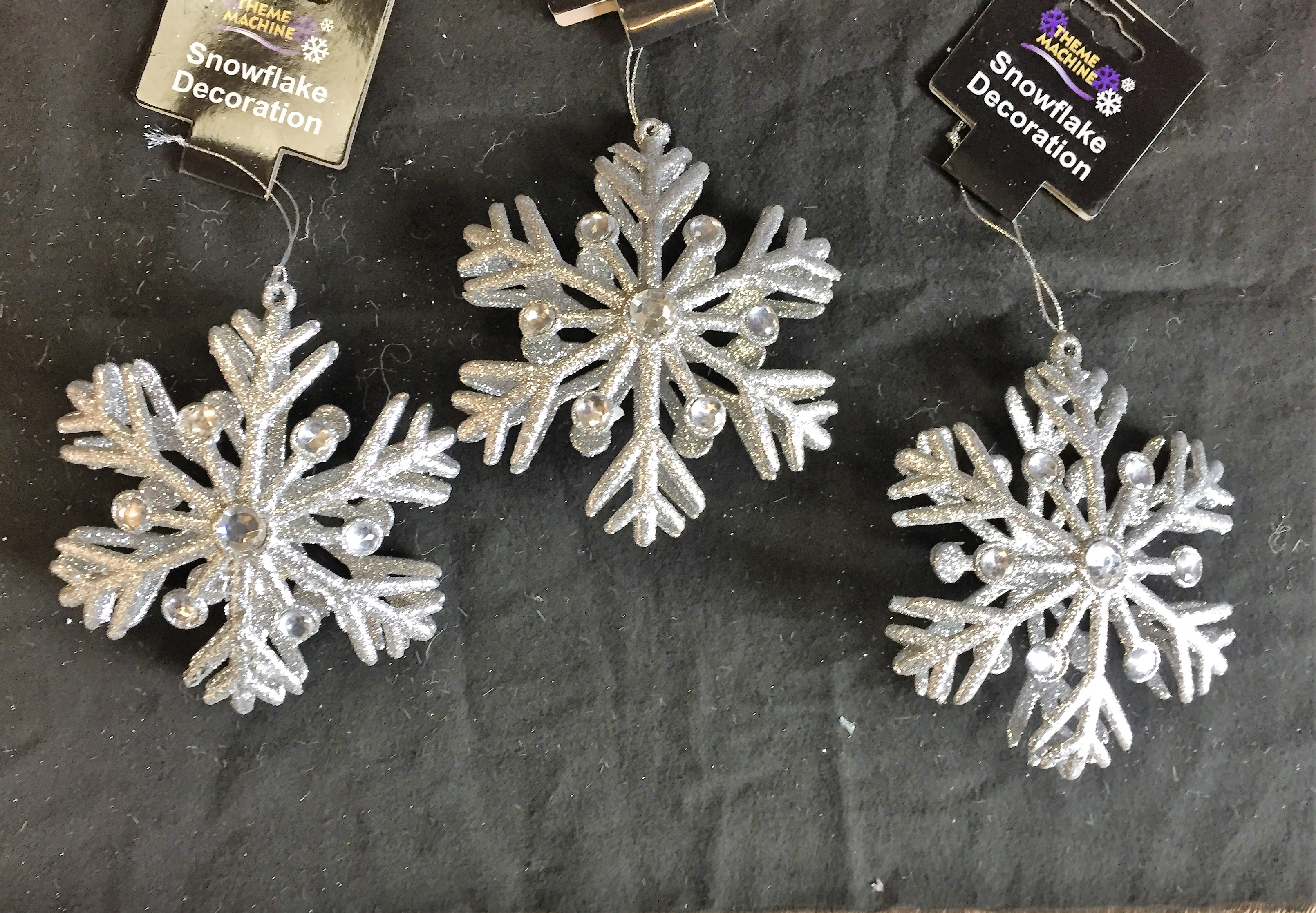 3 x large silver diamante 3d glitter snowflake christmas