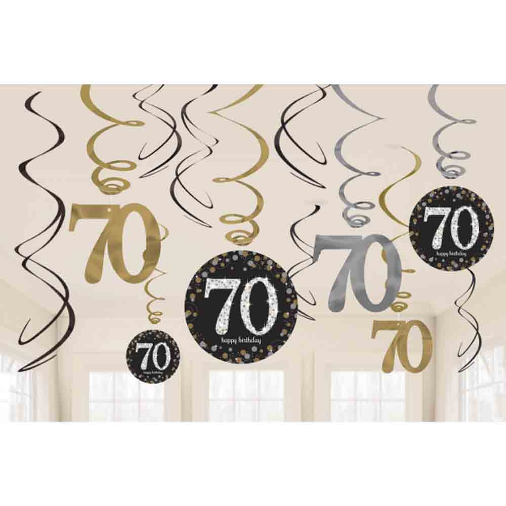 12 x 70th birthday hanging swirls black silver gold party for 70th birthday decoration