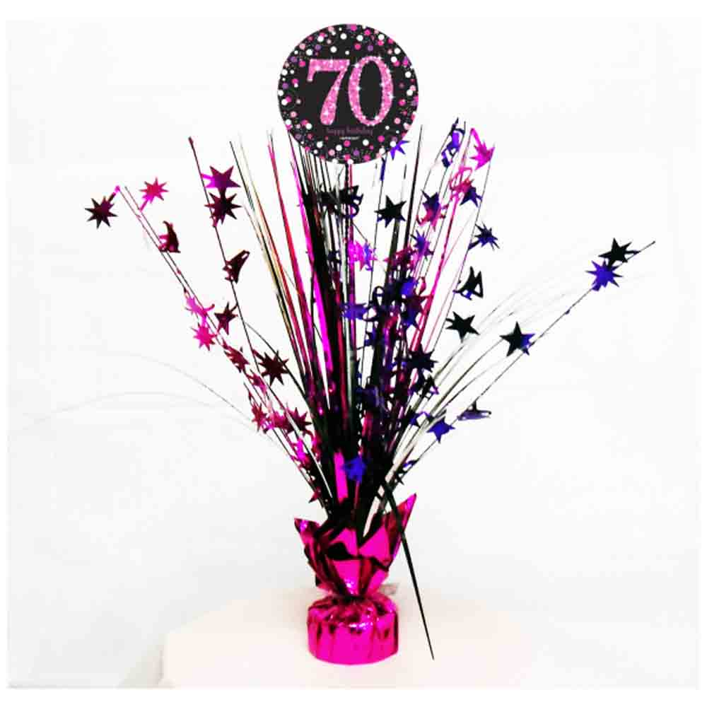 70th birthday spray centrepiece table decoration black for Decoration 70