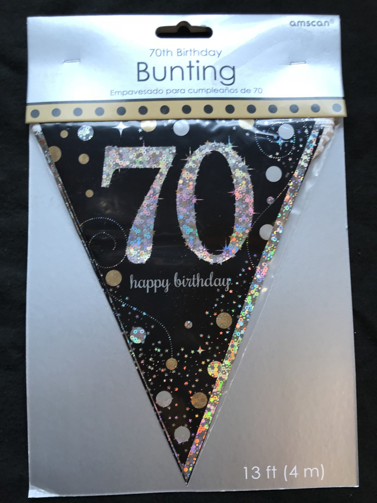 70th birthday pennant flag banner black silver gold party for Decoration 70