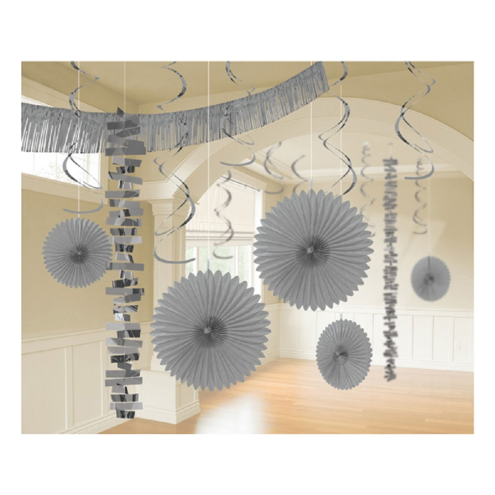 18 X Silver Hanging Paper Party Decorations Silver Party