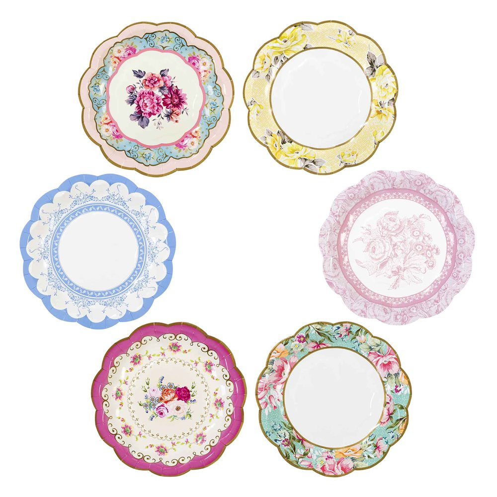 tea party paper plates Feminine and elegant, our kate aspen tea time whimsy paper plates are sure to be just the accent you need at your afternoon tea party sold in packs of 8, these aqua, white, pink, and gold paper turn your cookies and crumpets into a big part of your celebration.
